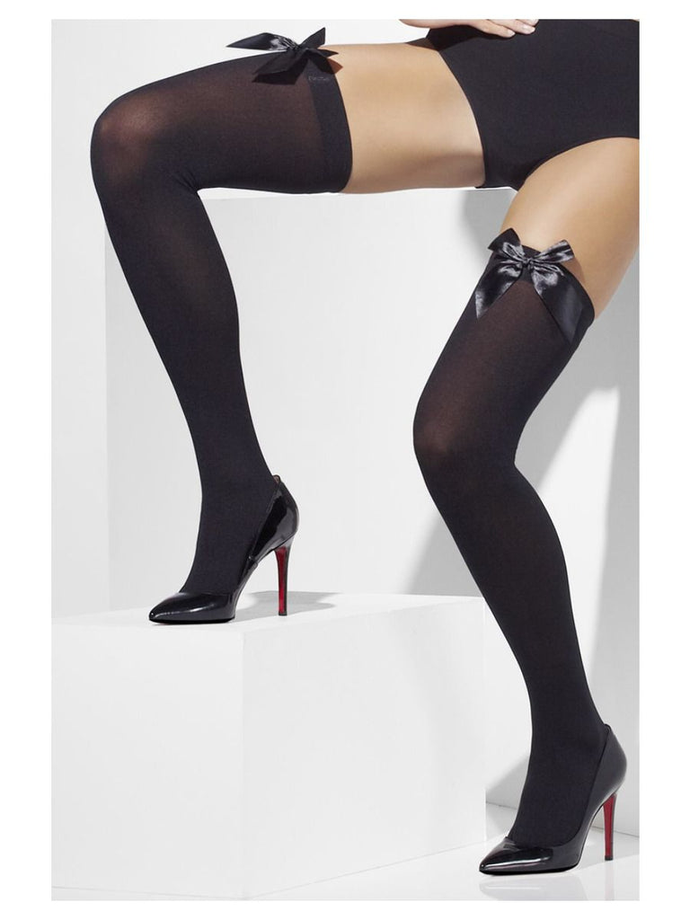 Opaque Hold-Ups, Black, with Black Bows