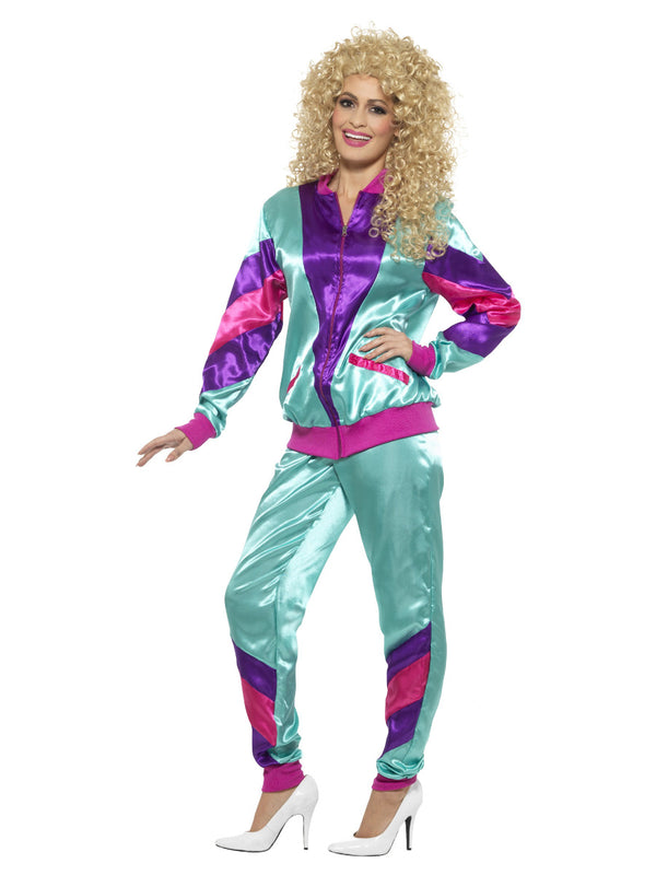 80S HEIGHT OF FASHION SHELL SUIT COSTUME, PURPLE