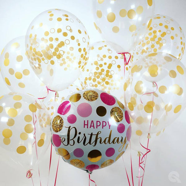Birthday Pink & Gold Dots Foil Balloon | Helium Is Included |.