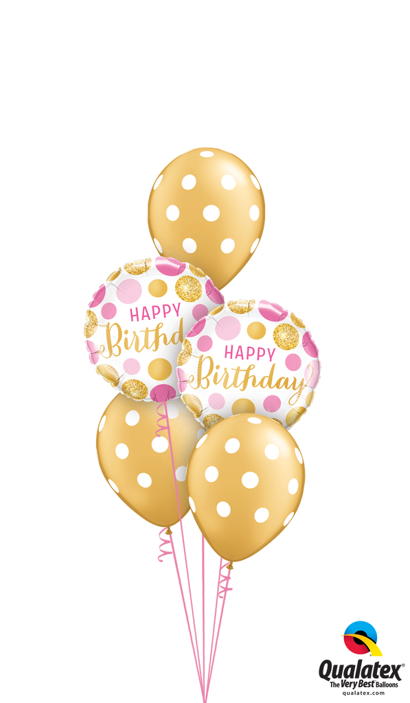 Gold & Pink Birthday Polka Dots Balloons Bouquet