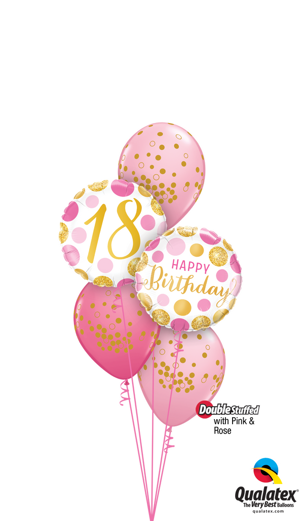 Pink 'N' Gold 18 Birthday Balloons Bouquet