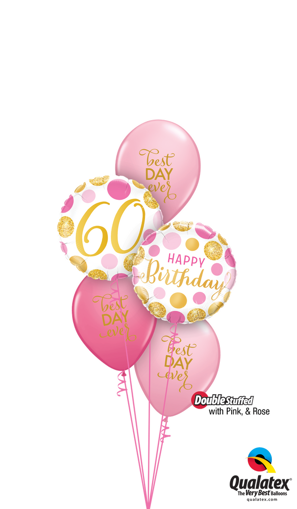 Pink 'N' Gold 60 Birthday Balloons Bouquet