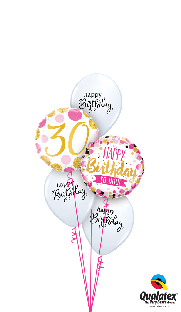 Pink 'N' Gold 30th Birthday Balloons Bouquet