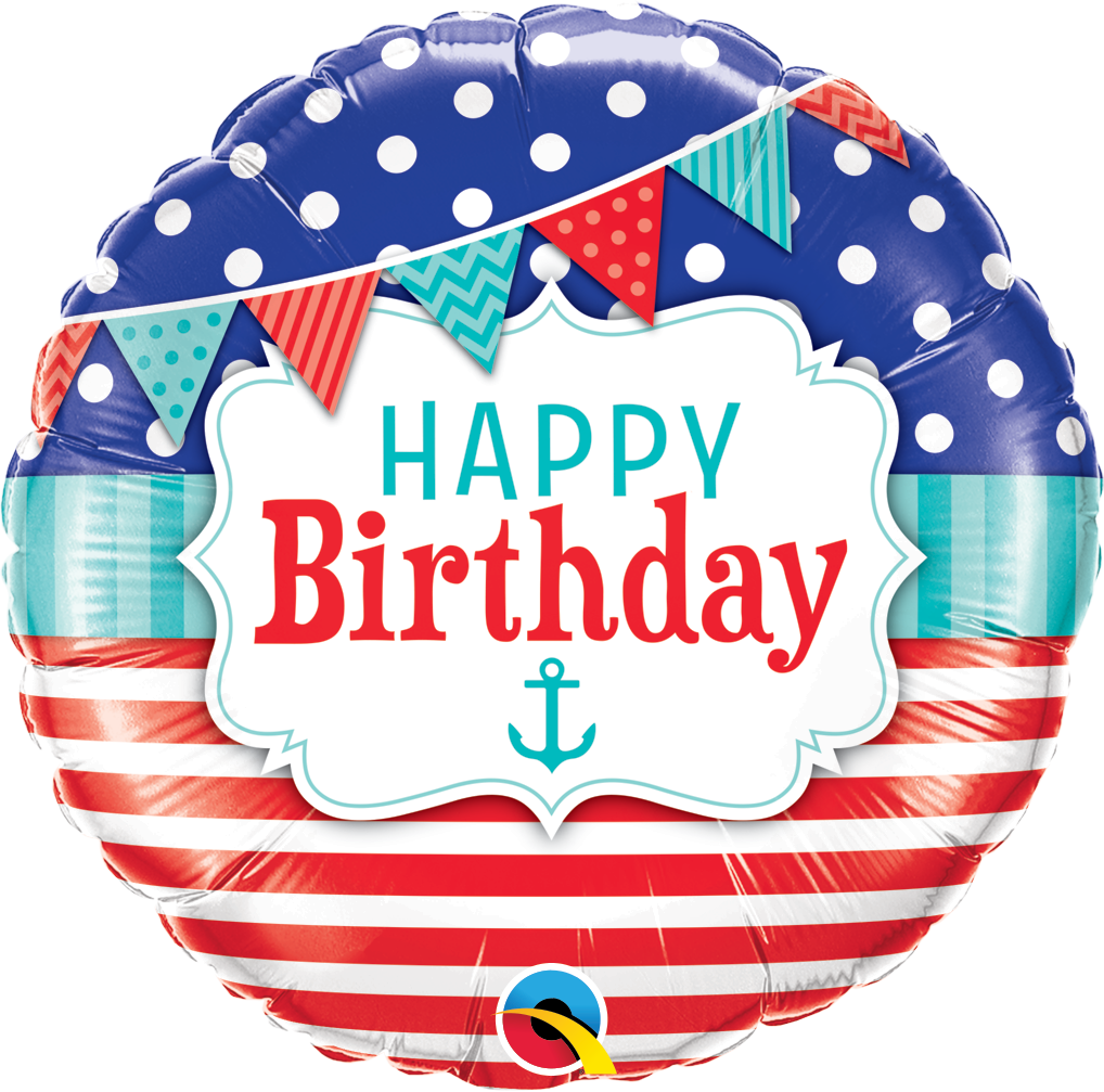 Birthday Nautical & Pennants Foil Balloon | Helium Is Included |.