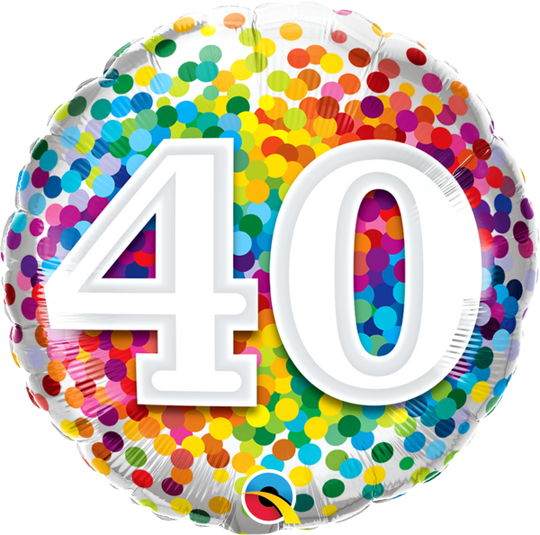 40 Rainbow Confetti Foil Balloon | Helium Is Included |.