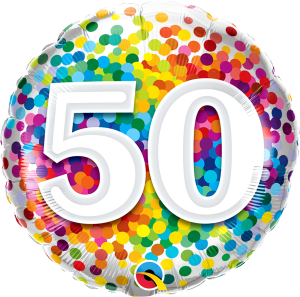 50 Rainbow Confetti Foil Balloon | Helium Is Included |.
