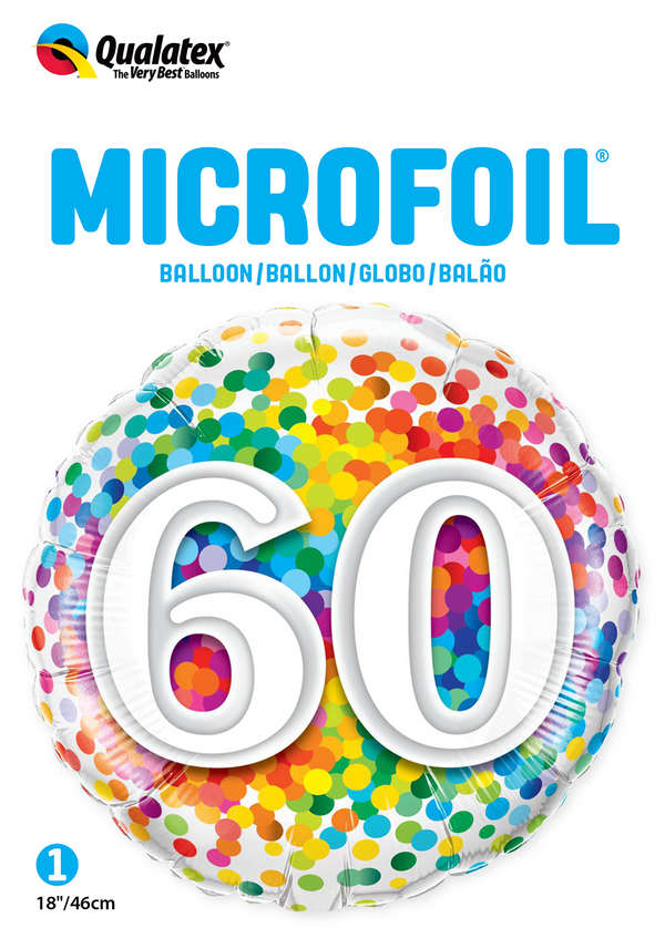 60 Rainbow Confetti Foil Balloon | Helium Is Included |.