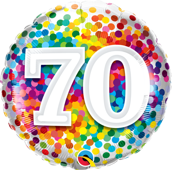70 Rainbow Confetti Foil Balloon | Helium Is Included |.