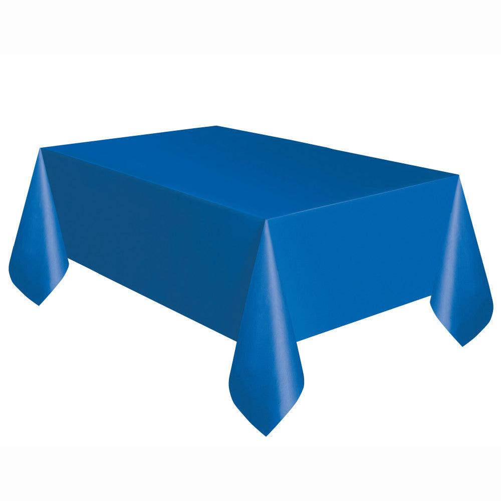 "Blue Rectangular Plastic Table Cover, 54""x108"""