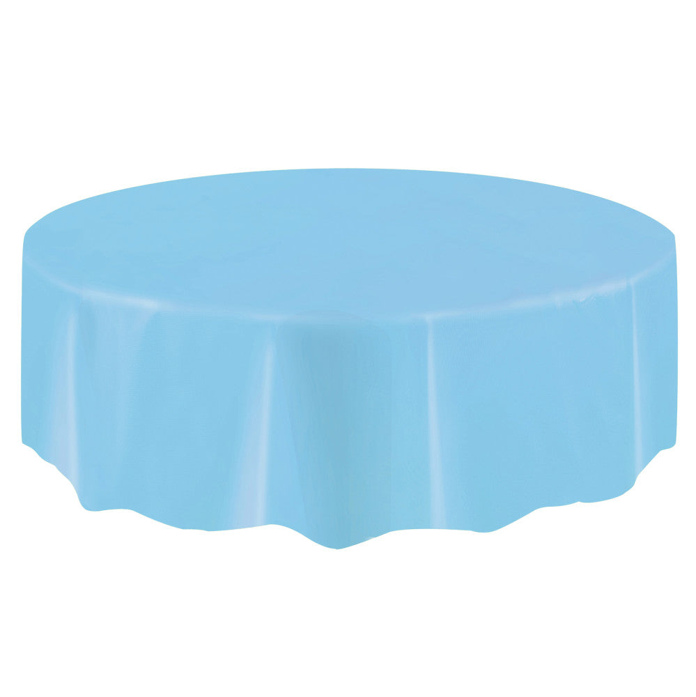Powder Blue Round Plastic Table Cover, 84""