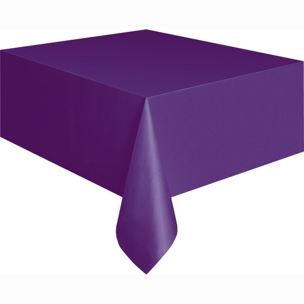 Deep Purple Rectangular Plastic Table Cover, 54