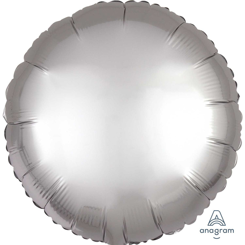 Circle Satin Luxe Foil Balloon | Platinum | Helium is included.