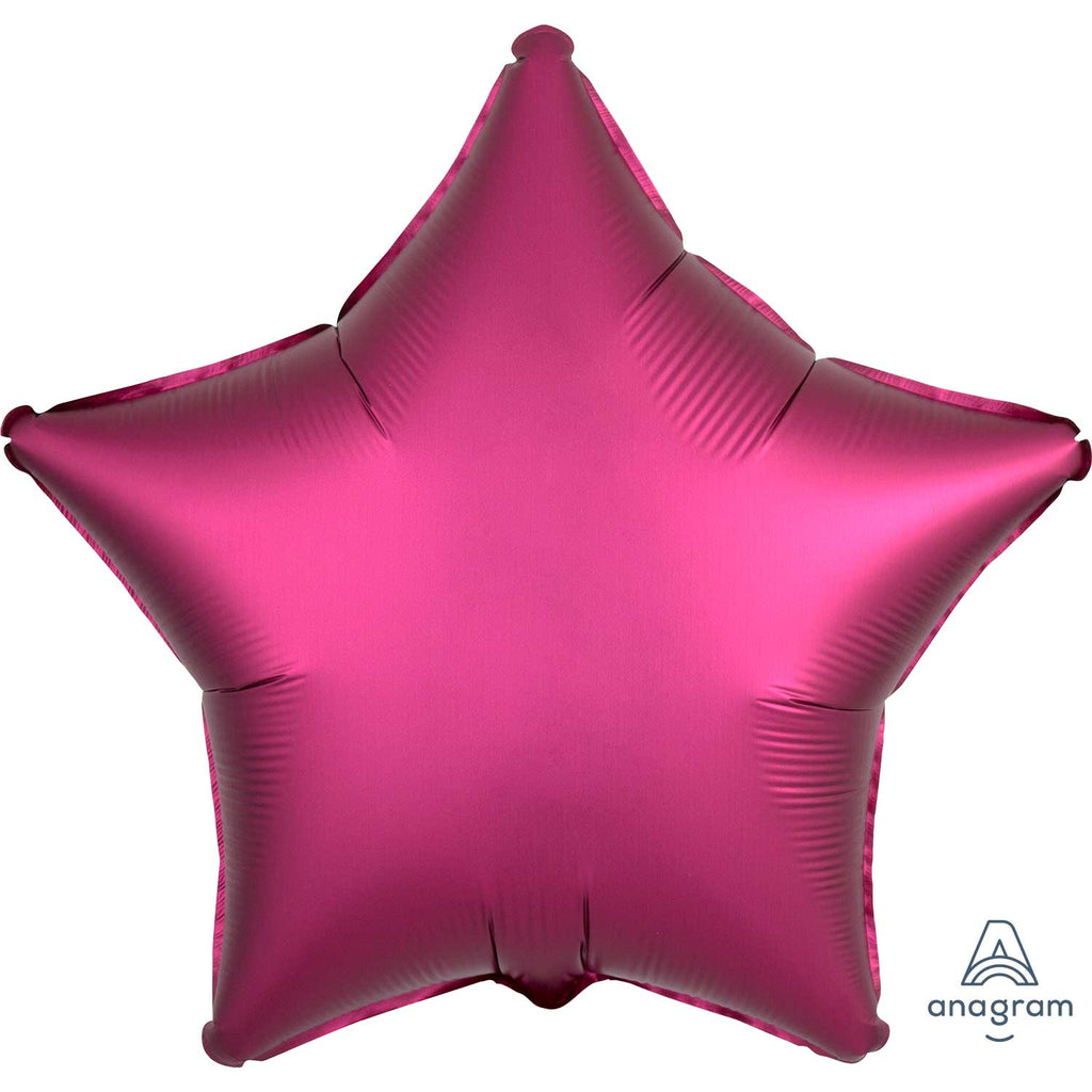 Star Satin Luxe Foil Balloon | Pomegranate | Helium is included.