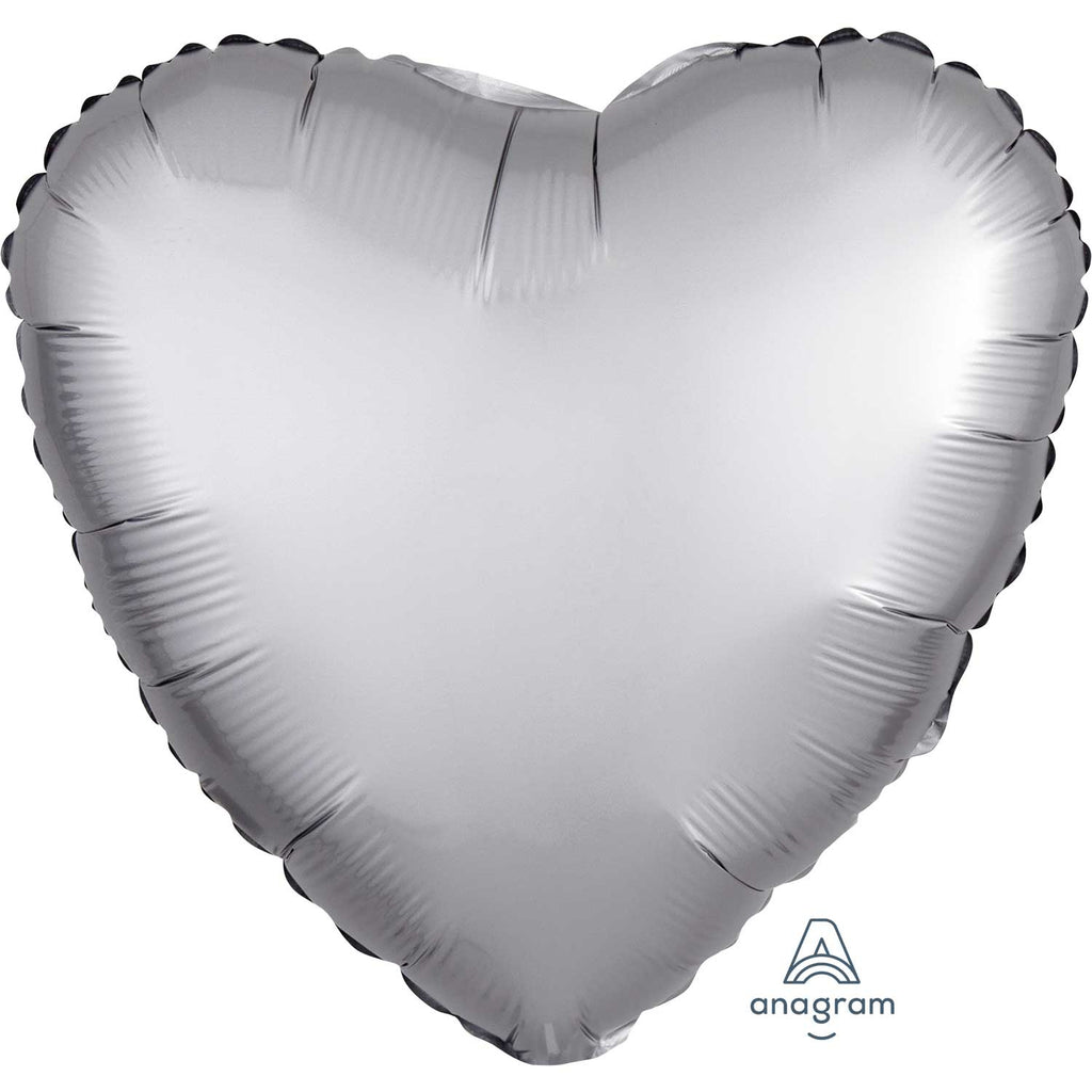 Heart Satin Luxe Foil Balloon | Platinum | Helium is included.