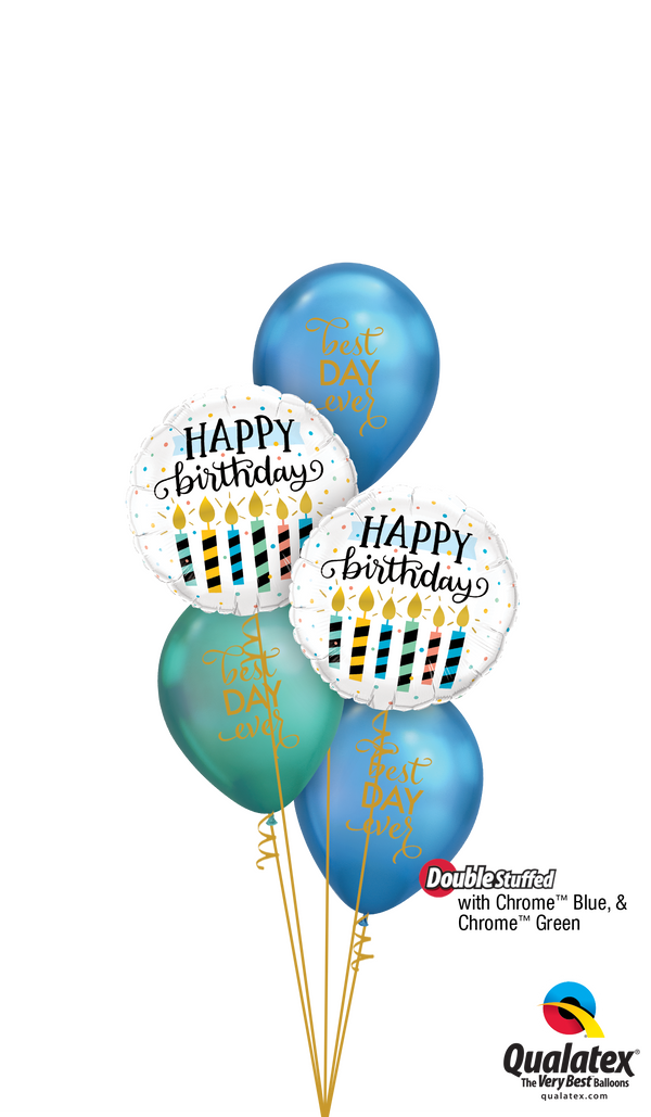 Chrome Blue 'N' Gold Birthday Balloons Bouquet