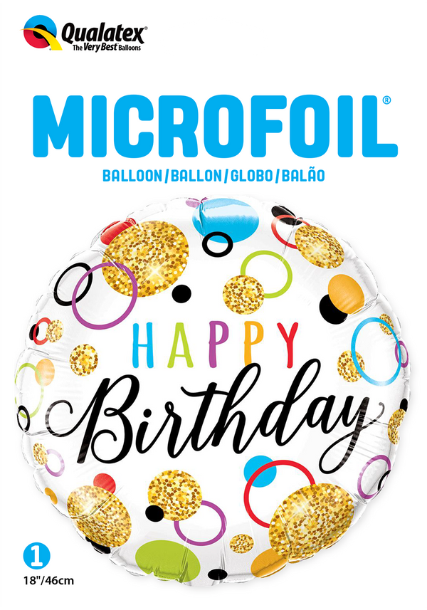 Birthday Glitter Dots Foil Balloon | Helium Is Included |.