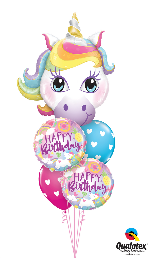 Unicorns & Birthday Hearts Balloon Bouquet