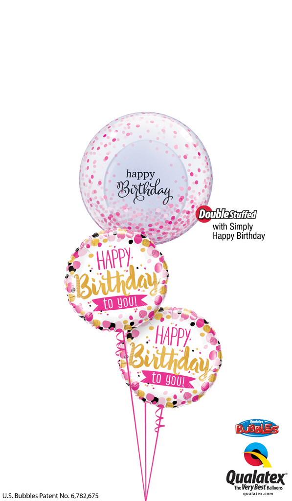 Pink Dots & Gold Script Birthday Bubble