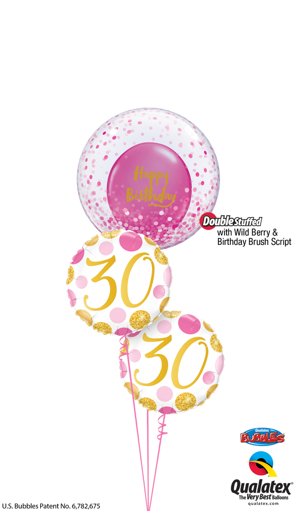 Pink Dots 30th Birthday Bubble - Birthday Bouquet