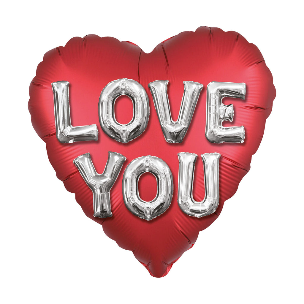 Love You Letters Satin Luxe Standard Foil Balloons 18"
