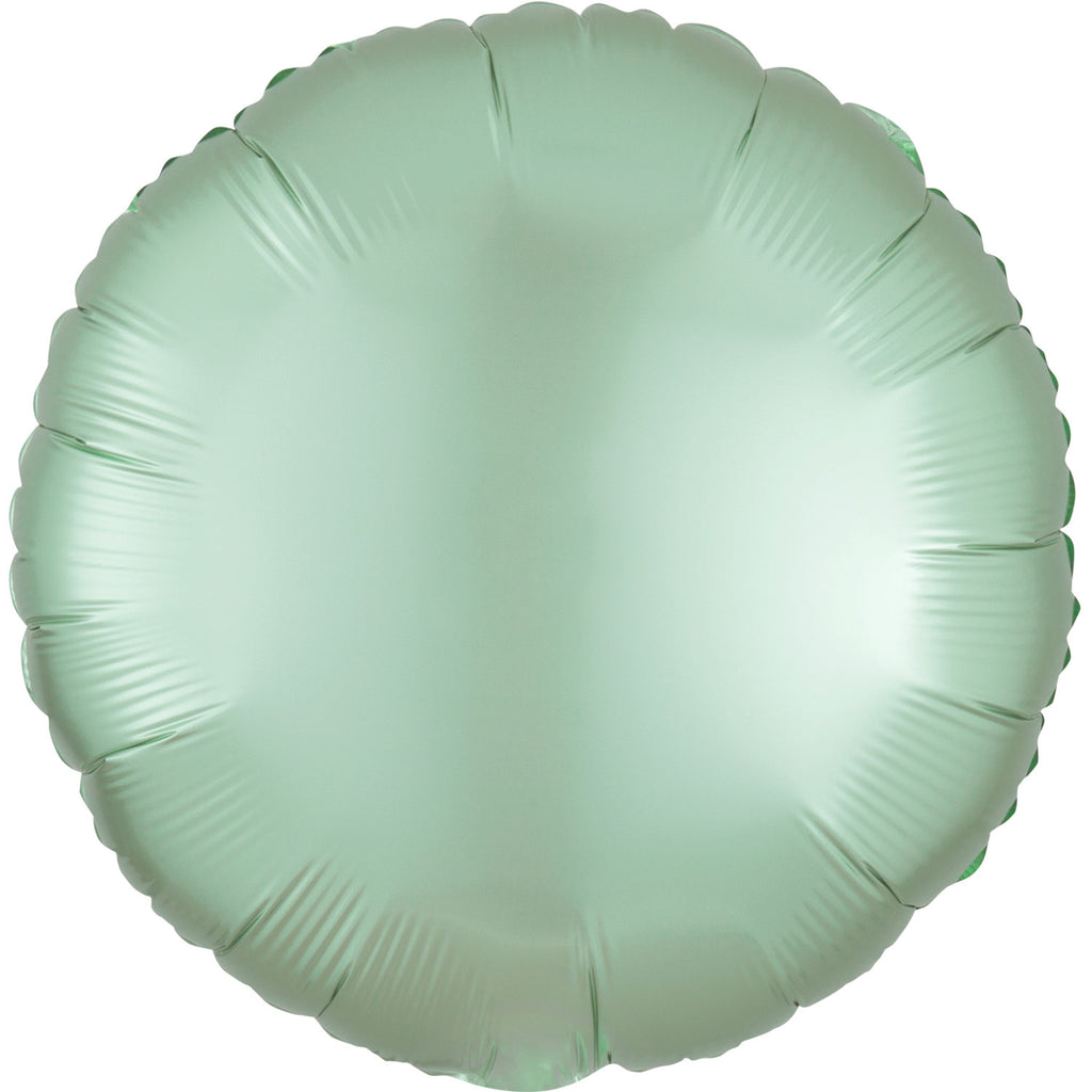 Circle Satin Luxe Foil Balloon | Mint Green | Helium is included.