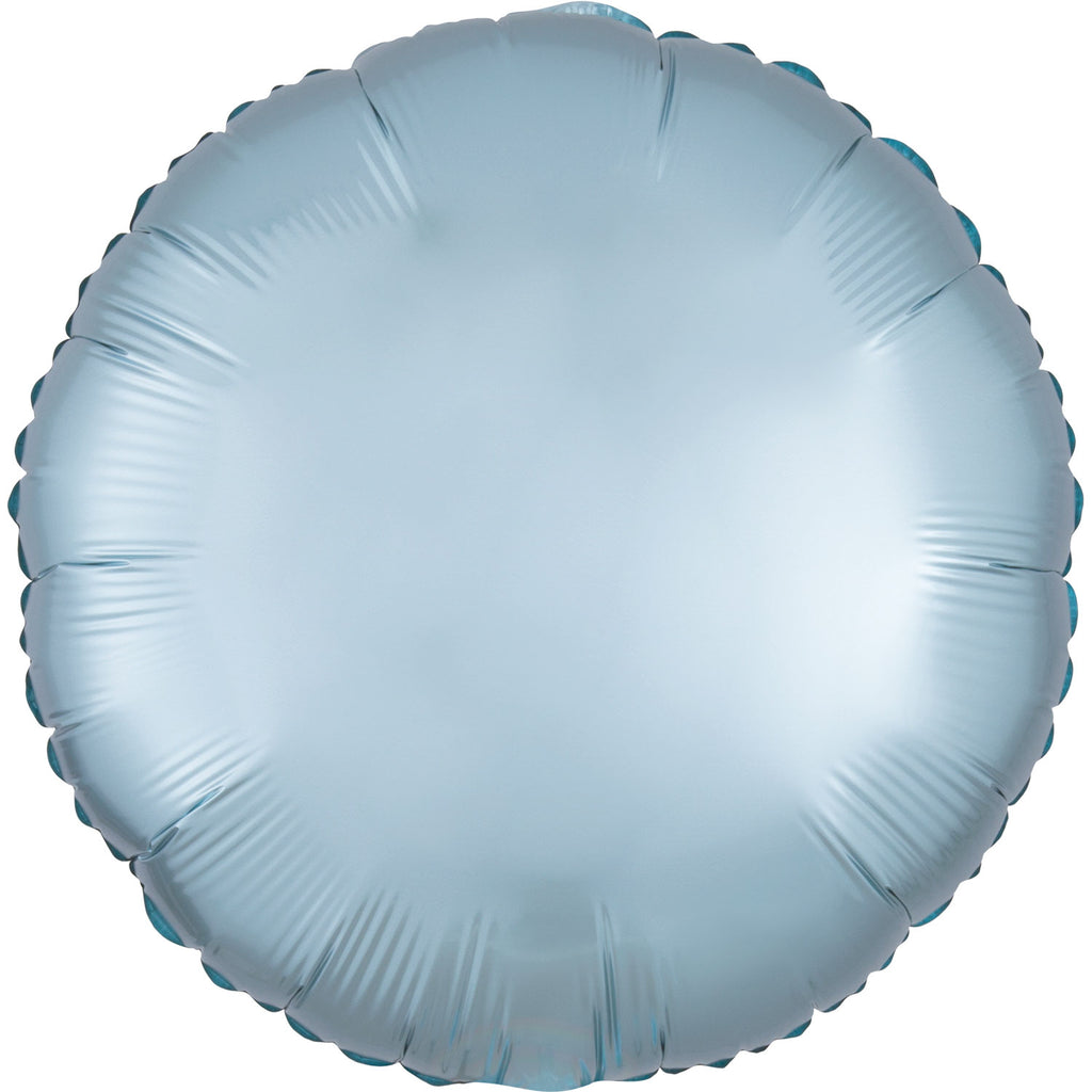 Circle Satin Luxe Foil Balloon | Pastel Blue | Helium is included.