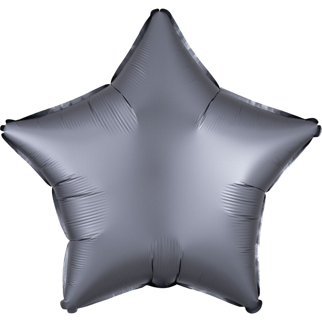 Star Satin Luxe Foil Balloon | Graphite | Helium is included.