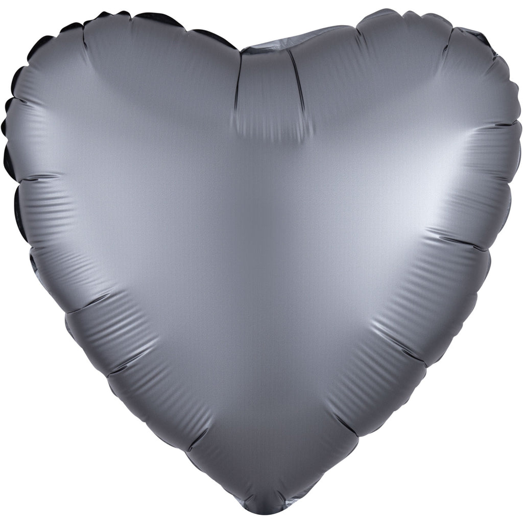 Heart Satin Luxe Foil Balloon | Graphite | Helium is included.