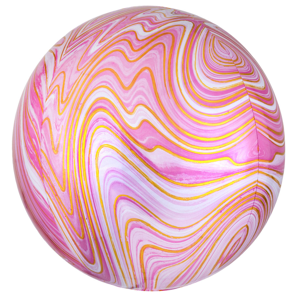 Orbz Foil Balloon  | Pink Marblez | Helium is included.