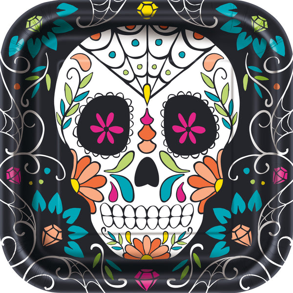 "Skull Day of the Dead Square 9"" Dinner Plates"