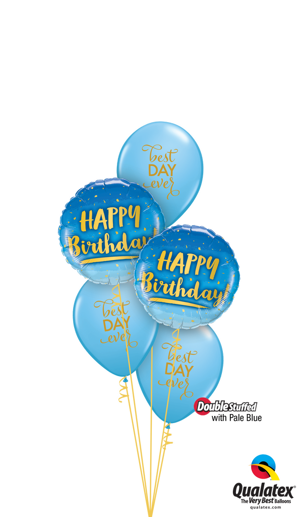 "Blue ""Best Day Ever"" Birthday Balloons Bouquet"