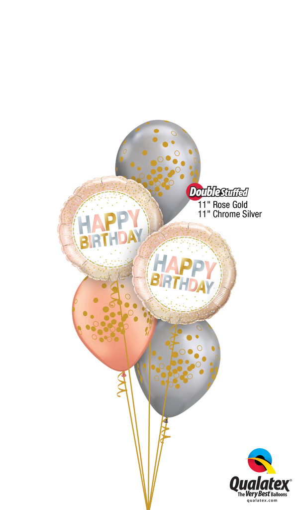 Rose Gold & Chrome™ Silver Birthday Balloons Bouquet