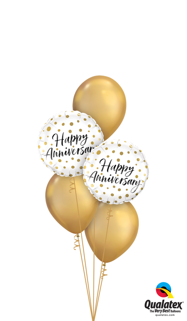 Chrome Gold Happy Anniversary Bouquet
