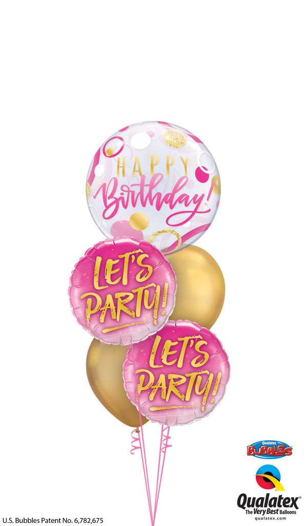 """Let's Party!"" Pink & Gold Birthday Bubble Balloon Bouquet"