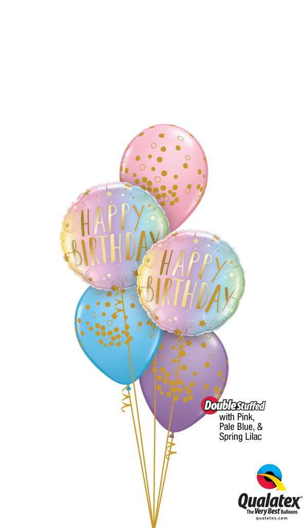 Swirly Whirly Birthday Colours & Dots Balloons Bouquet