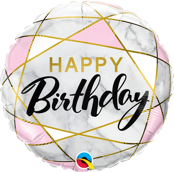 Birthday Marble Rectangles Foil Balloon | Helium Is Included |.
