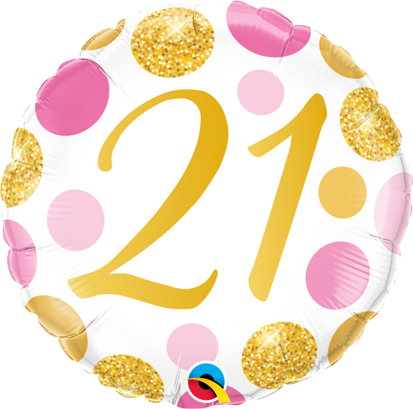 21 Pink & Gold Dots Foil Balloon | Helium Is Included |.