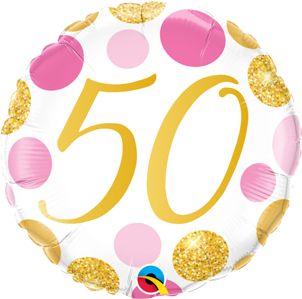 50 Pink & Gold Dots Foil Balloon | Helium Is Included |.