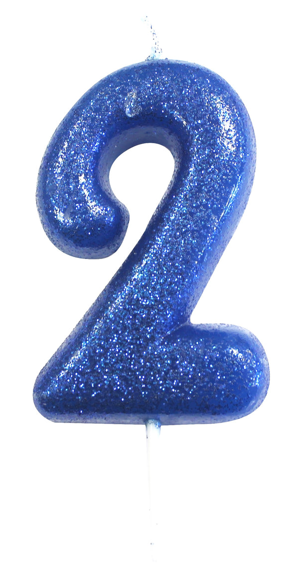 Glitter Birthday Candle Number 2 - Blue