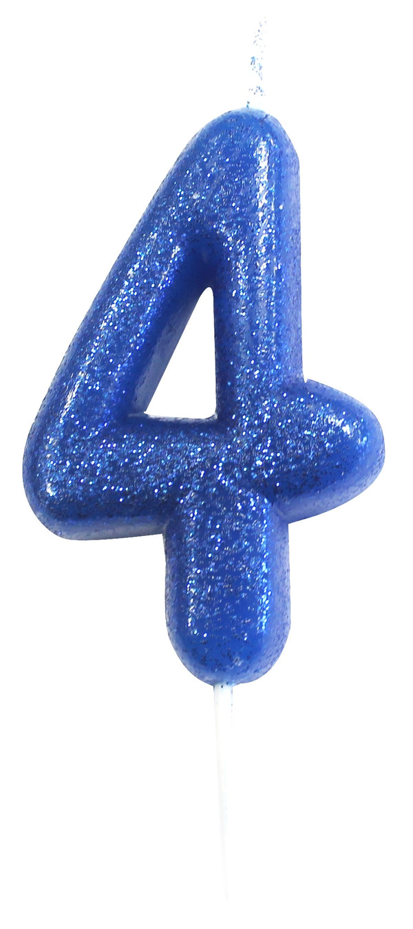 Glitter Birthday Candle Number 4 - Blue