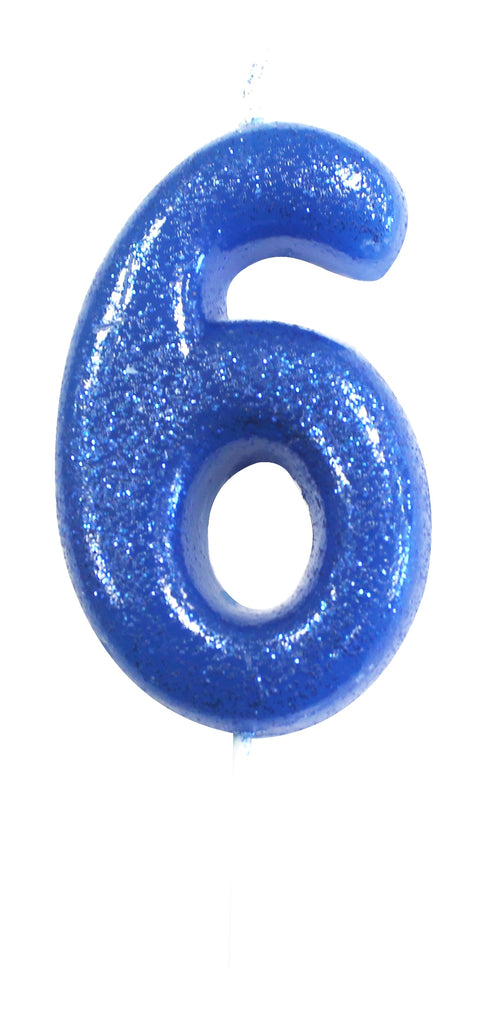 Glitter Birthday Candle Number 6 - Blue