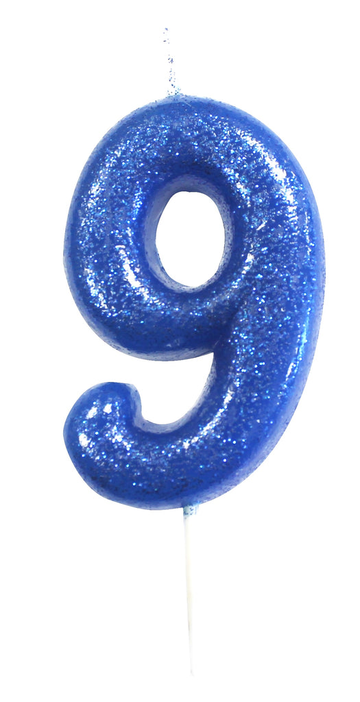 Glitter Birthday Candle Number 9 - Blue