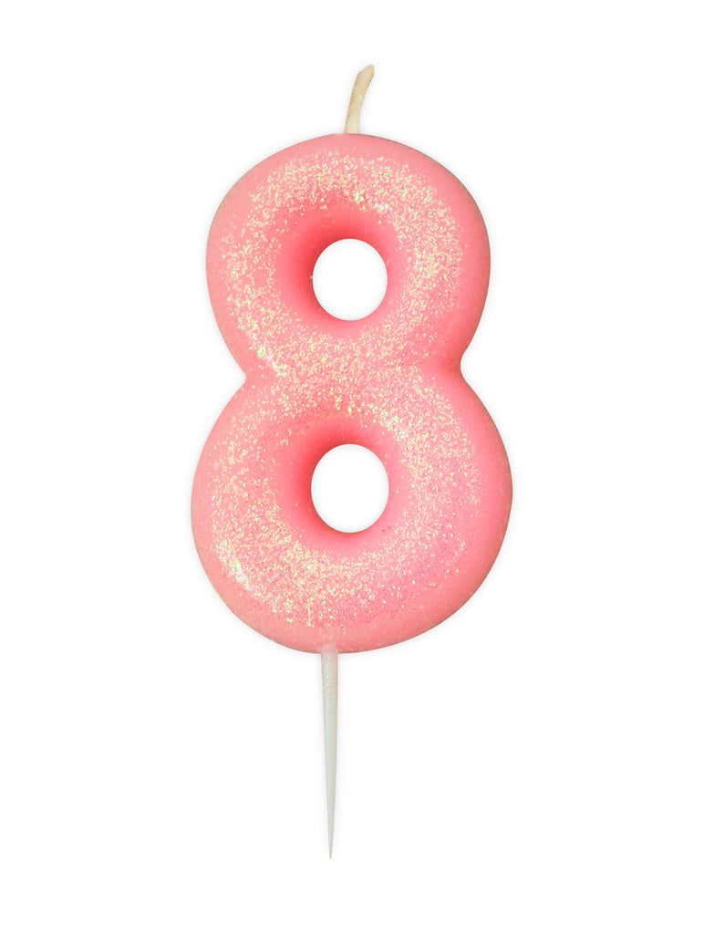 Glitter Birthday Candle Number 8 - Pink