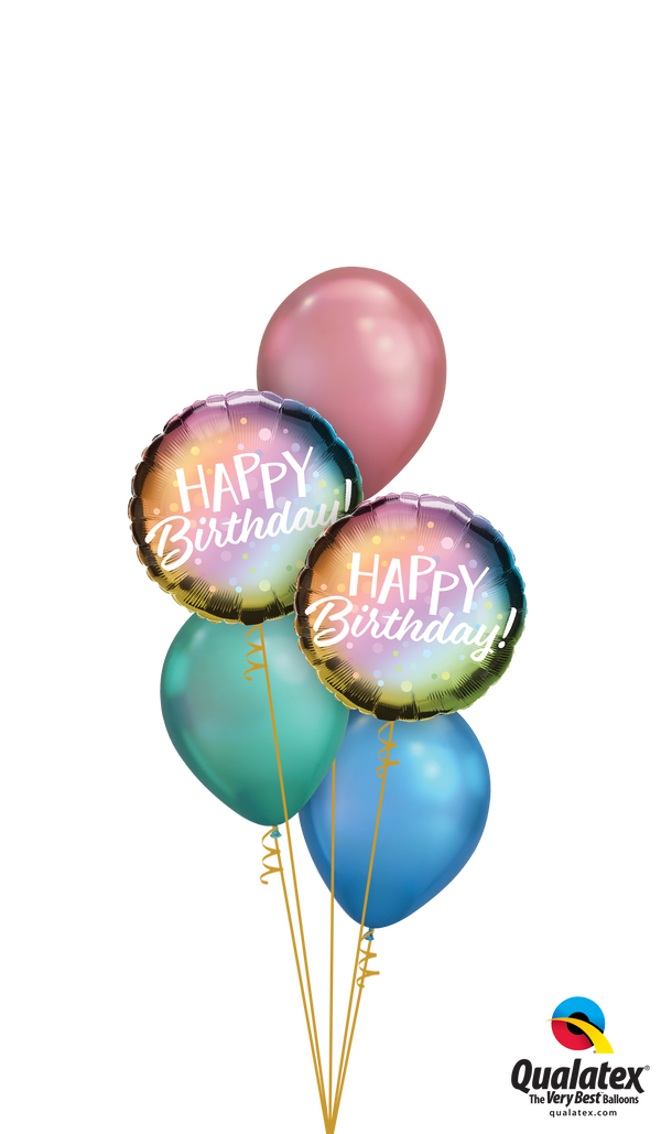 Colourful Chrome Birthday Balloons Bouquet