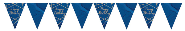 Navy and Gold Geode Paper Flag Bunting Happy Birthday Foil Stamped