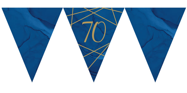 Navy and Gold Geode Paper Flag Bunting Age 70 Foil Stamped