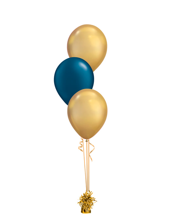 Gold & Blue Shade - Latex Balloon Bouquet - 3 Balloons