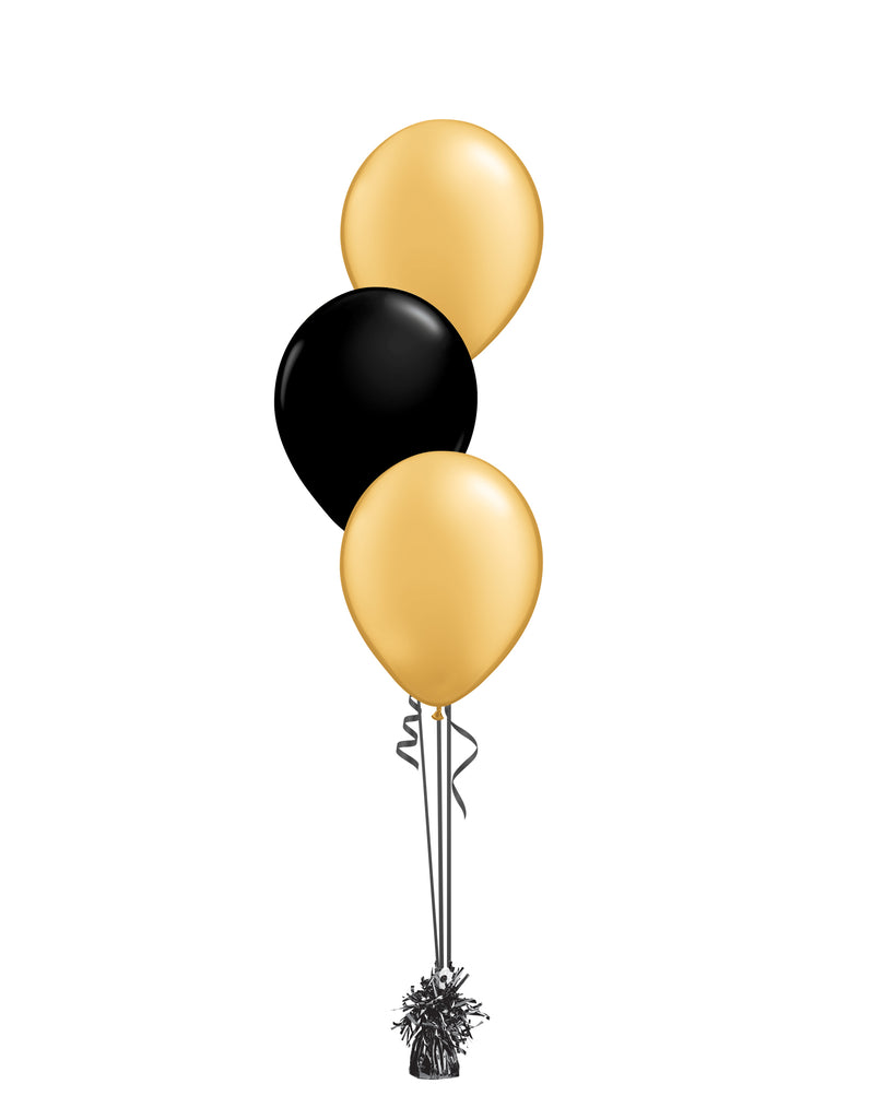 Gold & Black Shade - Latex Balloon Bouquet - 3 Balloons