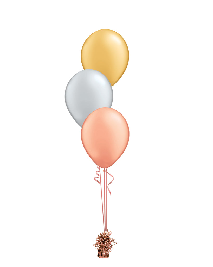 Rose Gold & Gold Shade - Latex Balloon Bouquet - 3 Balloons