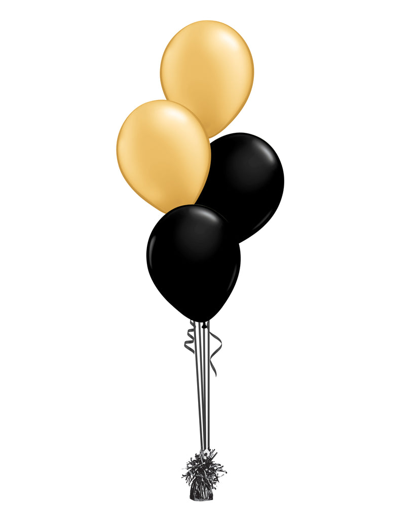 Gold & Black Shade - Latex Balloon Bouquet - 4 Balloons